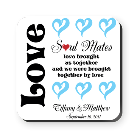 Customizable Soul Mates Square Coaster