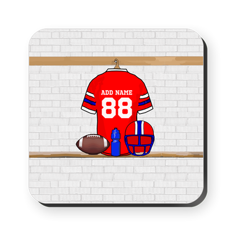 Personalized Football Grid iron jersey Square Coas