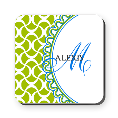 Blue Lime Monogram Square Coaster
