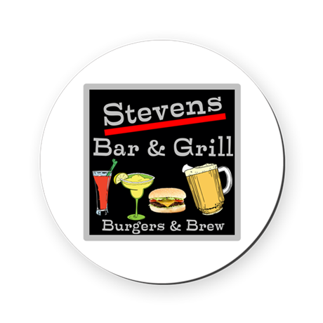 Personalized Bar and Grill Round Coaster