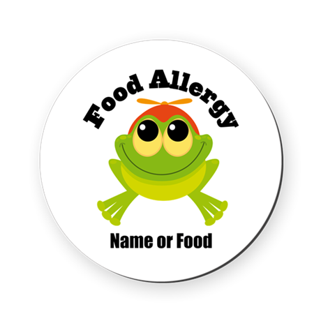 Personalized Food Allergy Frog Round Coaster