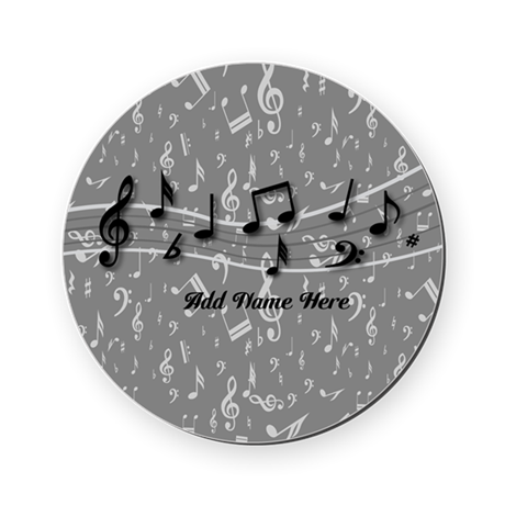 Personalized Grey black musical notes Round Coaste