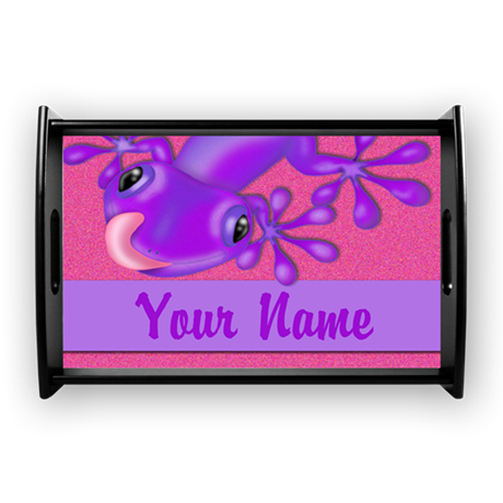 Pink Gecko Personalized Small Serving Tray
