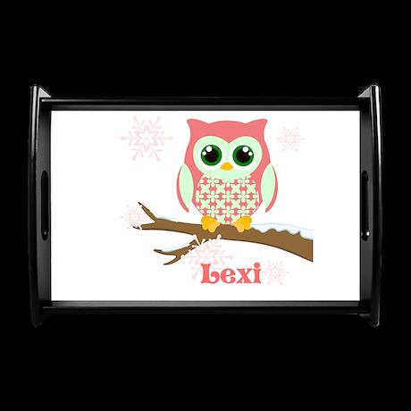 Custom name winter owl girl Small Serving Tray