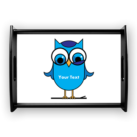 Custom Blue Owl Branch Large Serving Tray