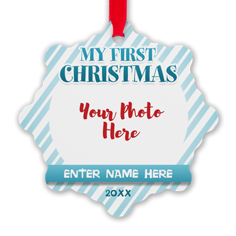 First Christmas Personalizable Blue Ornament
