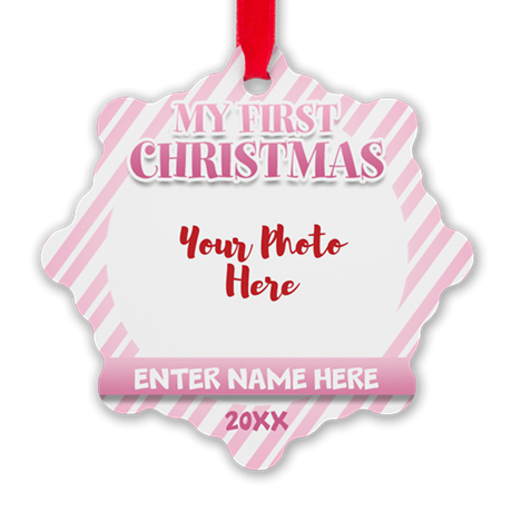 First Christmas Personalizable Pink Ornament