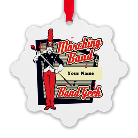 Marching Band Geek (Red) Snowflake Ornament