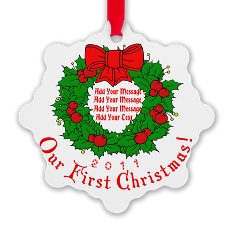 Our 1st X'mas Add Your Text Snowflake Ornament