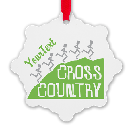Customize Cross Country Runners Snowflake Ornament
