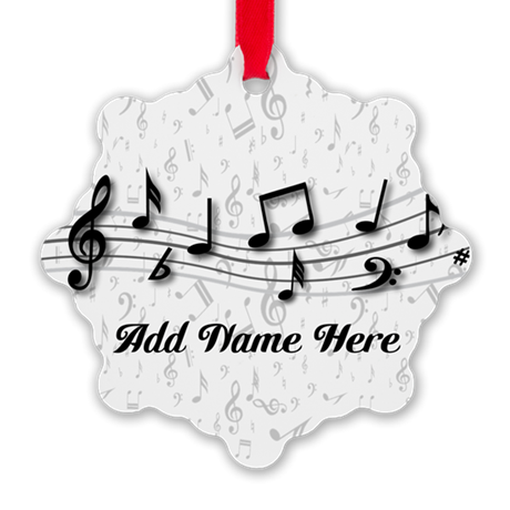 Personalized Musical Notes design Snowflake Orname