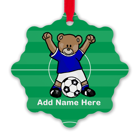 Personalized name soccer bear blue Snowflake Ornam