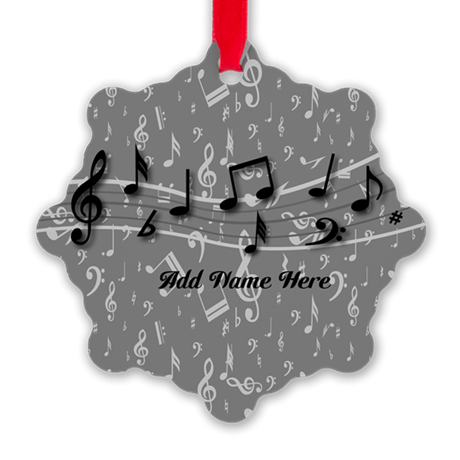 Personalized Grey black musical notes Snowflake Or