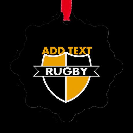 Rugby Crest Black Gold blkpz Snowflake Ornament