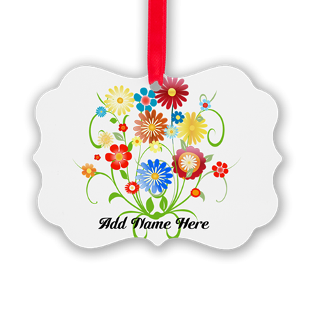 Personalized floral light Picture Ornament