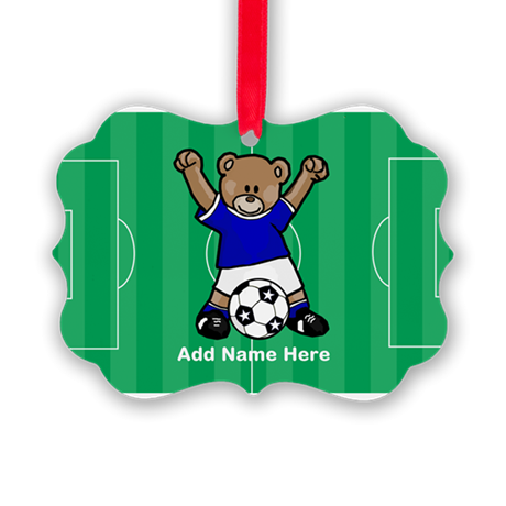 Personalized Soccer Bear Picture Ornament