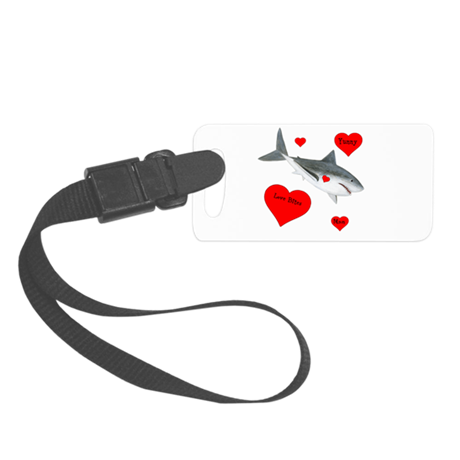 Personalized Shark Valentine Small Luggage Tag