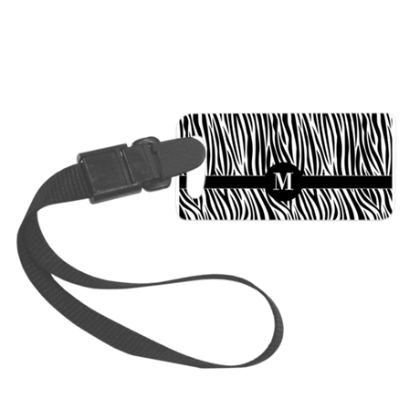 Zebra Stripes with initial Small Luggage Tag
