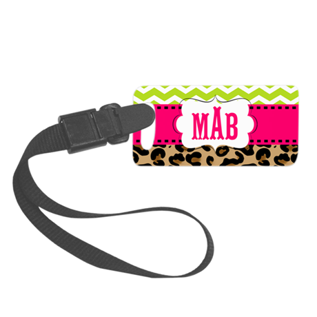 Pink Green Chevron Leopard Monogram Luggage Tag