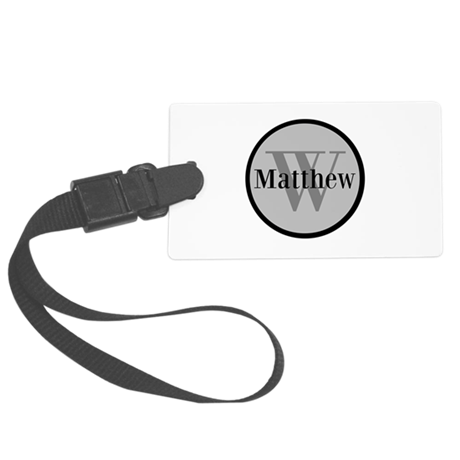 Gray Name and Initial Monogram Luggage Tag