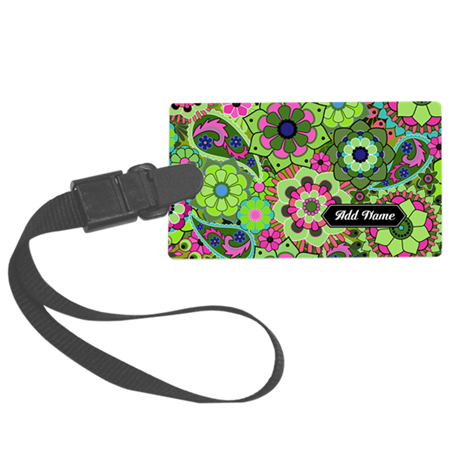 trendy flowers with name green Large Luggage Tag