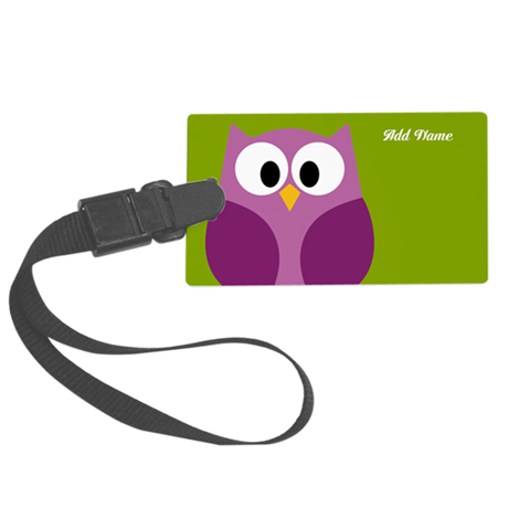 cute owls on branch green Large Luggage Tag