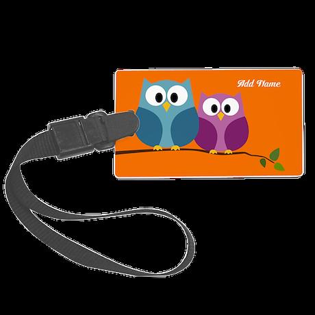 cute owls on branch orange Large Luggage Tag