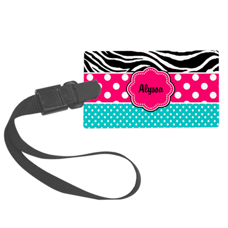 Pink Blue Zebra Personalized Luggage Tag