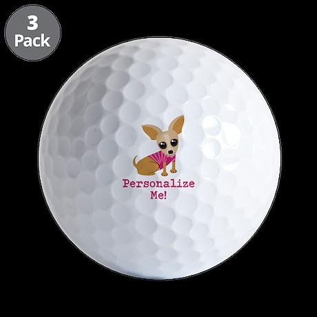 Custom Pink Chihuahua Golf Balls