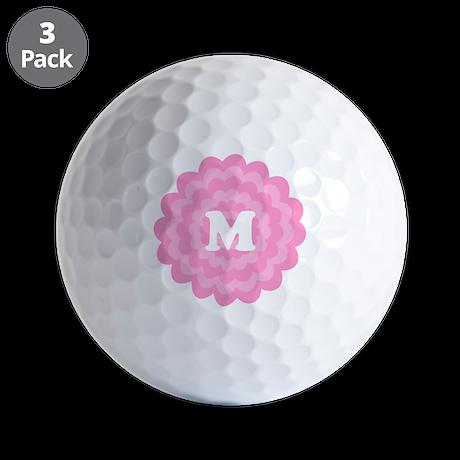 Your Letter on Pink Flower. Golf Balls