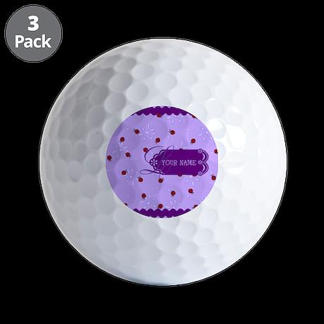 Lavender Purple Lady Bug Monogram Golf Balls