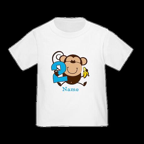 Personalized Monkey Boy 2nd Birthday Toddler T-Shi
