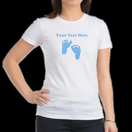 Personalized Baby Feet Blue Jr. Jersey T-Shirt