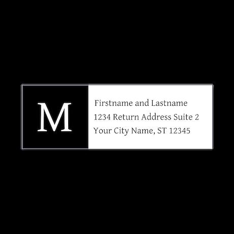 Monogrammed Black and White Return Address Labels