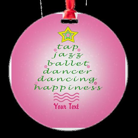 Custom Pink Dancer's Christmas Tree Round Ornament