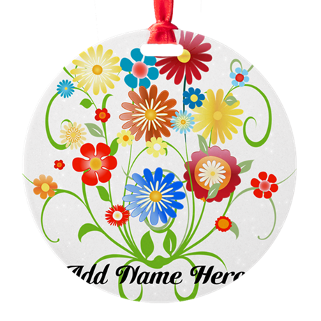 Personalized floral light Round Ornament