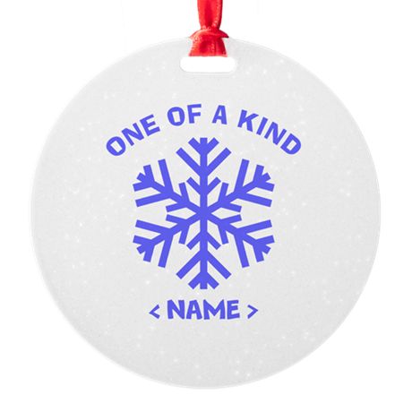 Personalize Christmas Snowflake Round Ornament