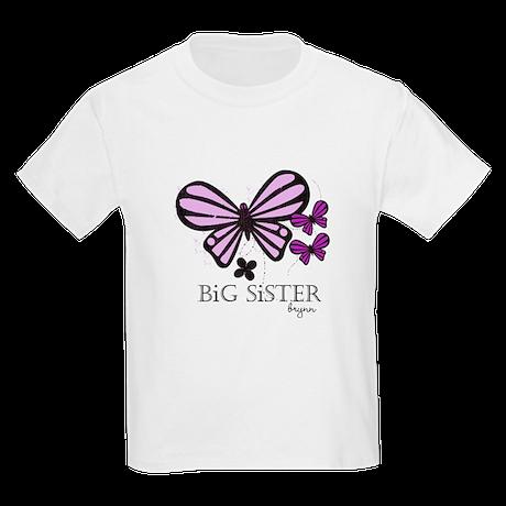 Big Sister Butterfly Custom Kids Light T-Shirt