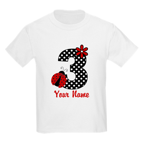 3rd Birthday Ladybug Kids Light T-Shirt