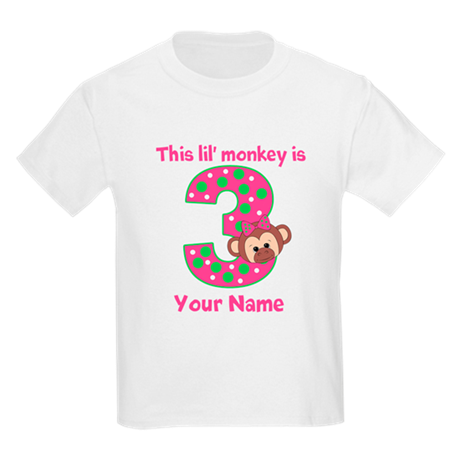 3rd Birthday Girl Monkey Kids Light T-Shirt