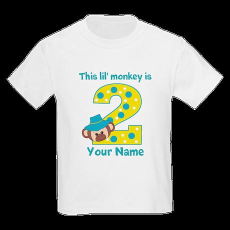 2nd Birthday Monkey Boy Kids Light T-Shirt