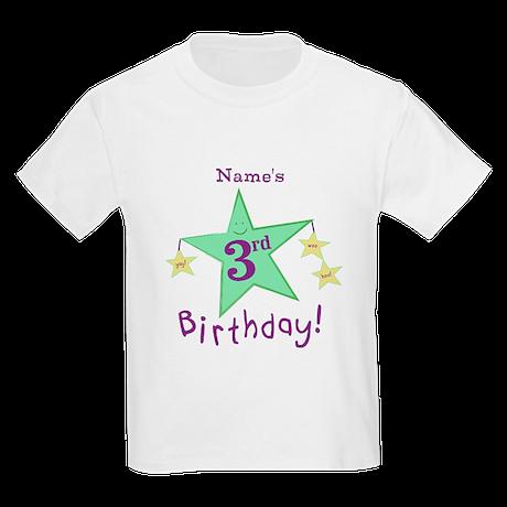 Custom Third Birthday Kids Light T-Shirt