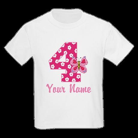 4th Birthday Butterfly Kids Light T-Shirt