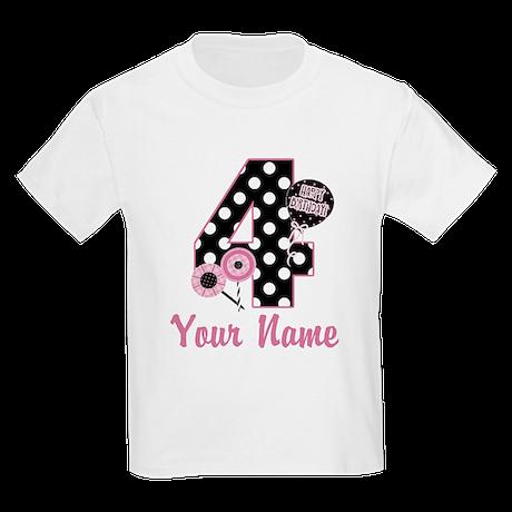 4th Birthday Pink Black Dot Kids Light T-Shirt