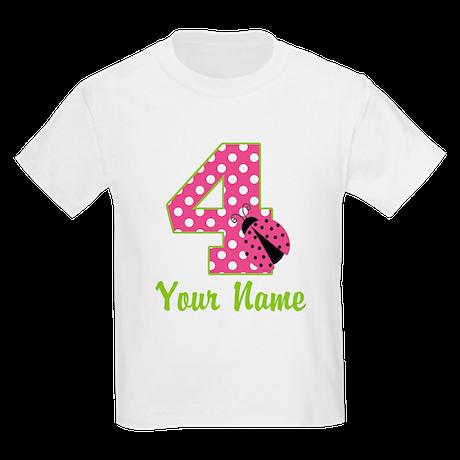 4th Birthday Ladybug Pink Kids Light T-Shirt