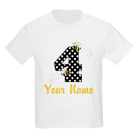 4th Birthday Bumble Bee Kids Light T-Shirt