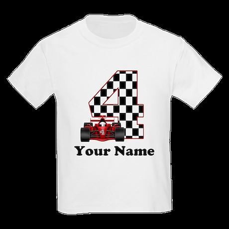 4th Birthday Race Car Kids Light T-Shirt