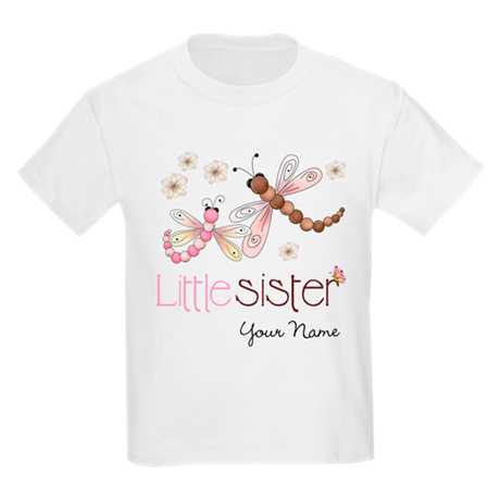 Little Sister Dragonfly Personalized Kids Light T-