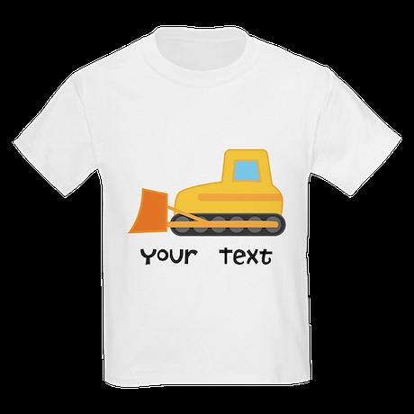 Personalized Bulldozer Kids Light T-Shirt