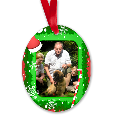 Personalizable Christmas Photo Frame Oval Ornament